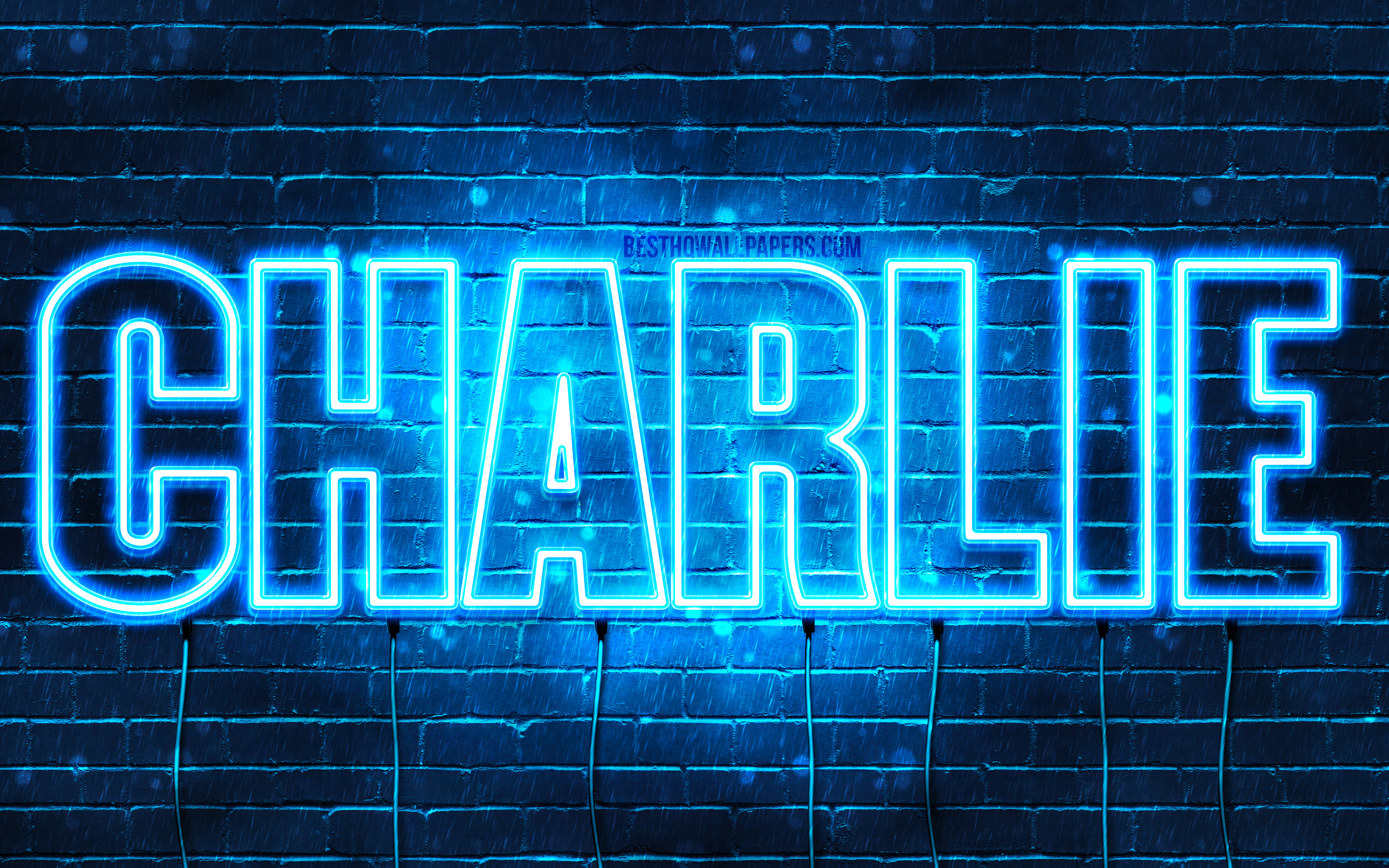 Charlie, 4k, wallpapers with names, horizontal text, Charlie name, blue neon lights, picture with Charlie name