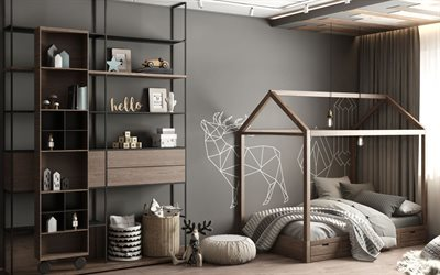 kids room, modern stylish interior, wooden bed house, gray stylish interior, room for children