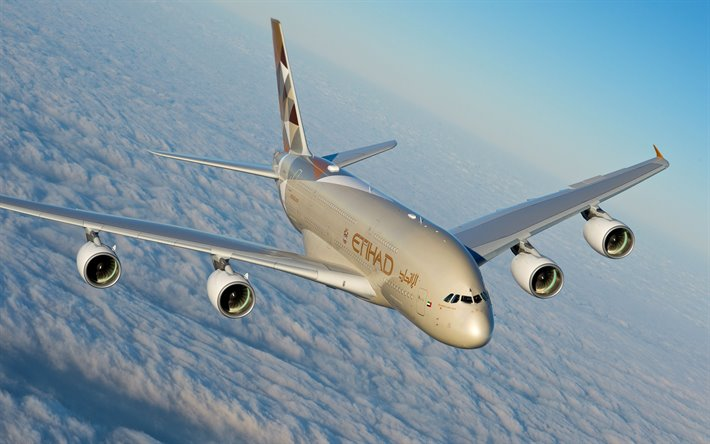 Airbus A380, Etihad Airways, passenger plane, air travel, modern airplanes, Airbus