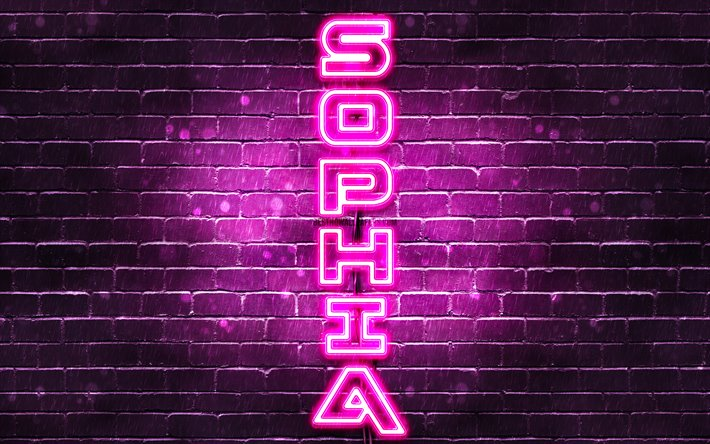 4K, Sophia, vertical text, Sophia name, wallpapers with names, female names, purple neon lights, picture with Sophia name