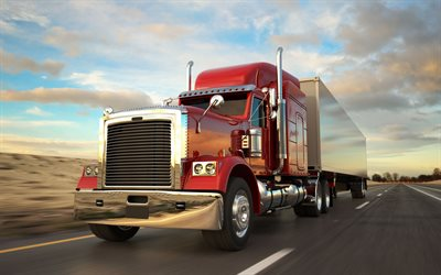 Peterbilt, red truck, trucking concepts, 3d truck, cargo delivery, Model 389, delivery concepts