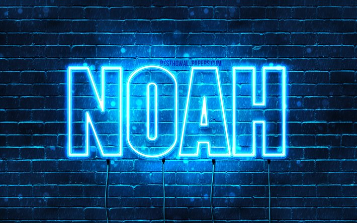 Noah, 4k, wallpapers with names, horizontal text, Noah name, blue neon lights, picture with Noah name