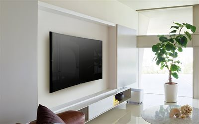modern interior, living room, large TV, Sony Bravia S90