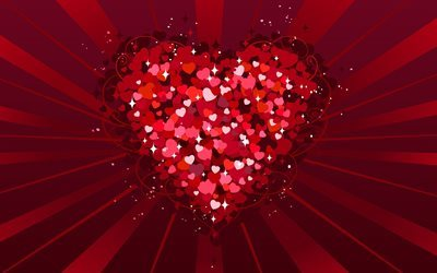 abstract heart, pink heart, love wallpapers