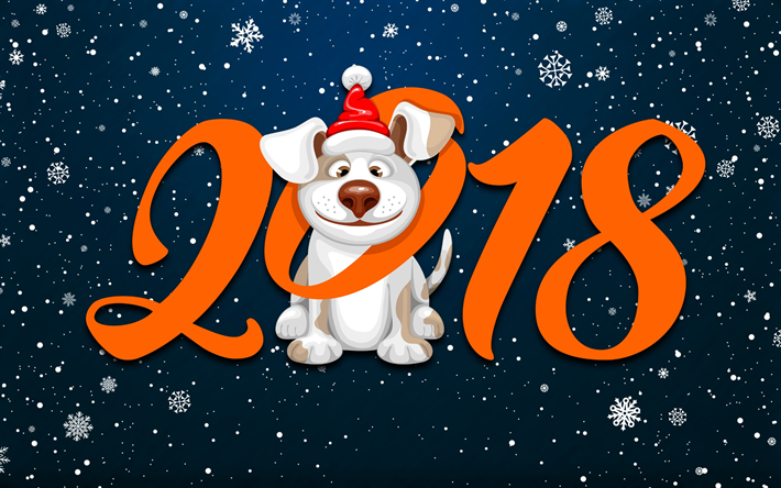 joulu 2018 loma Lataa kuva Hyvää Uutta Vuotta 2018, koira, lumihiutaleet, vuoden  joulu 2018 loma