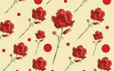 retro texture with red roses, retro floral background, roses texture, background with red roses, paper texture, roses background