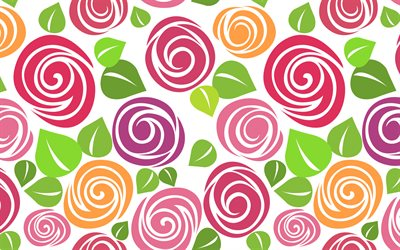 colorful roses pattern, 4k, floral patterns, decorative art, flowers, roses patterns, abstract roses pattern, background with roses, floral textures