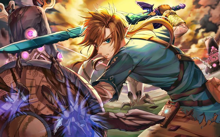 Link, 4k, protagonista, The Legend of Zelda Respiro della natura, poster, The Legend of Zelda