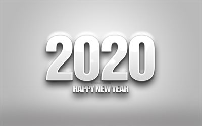 2020 white 3d background, Happy New Year 2020, white background, 3d letters, 2020 concepts, 2020 white background