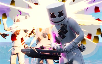 4k, Marshmello Fortnite, 2019 games, Fortnite Battle Royale, DJ station, Marshmello Skin, Fortnite, Marshmello