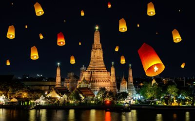 Wat Arun, Buddhist temple, Bangkok, capital of Thailand, Chao Phraya River, night, temple, flying lanterns, Bangkok landmark, Thailand