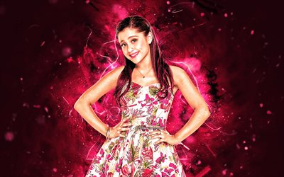 Ariana Grande, fan art, american celebrity, purple neon lights, Ariana Grande-Butera, american singer, superstars, Ariana Grande art