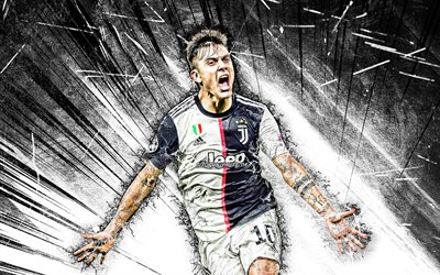 Paulo Dybala, grunge art, Juventus FC, Bianconeri, football stars, argentinian footballers, goal, Dybala, soccer, black abstract rays, Serie A, Italy, Juve