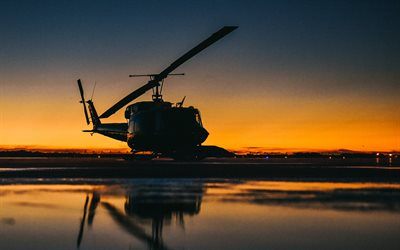 Bell UH-1 Iroquois, military transport helicopter, Bell 212, evening, sunset, airfield, military helicopters, US Air Force