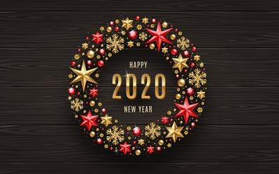Happy New Year 2020, 4k, Christmas wreath, Wooden 2020 background, Christmas, 2020 concepts, Christmas frame, Golden Christmas Ornaments, 2020 on wooden background, 2020 New Year, 2020 year digits