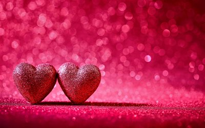 two hearts, 4k, love concepts, pink hearts, 3D art, 3D hearts, artwork, hearts, pink backgrounds