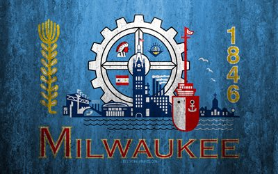 Flag of Milwaukee, Wisconsin, 4k, stone background, American city, grunge flag, Milwaukee, USA, Milwaukee flag, grunge art, stone texture, flags of american cities