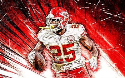 LeSean McCoy, grunge de l'art, de la course de retour, Kansas City Chiefs, le football américain, NFL, LeSean Kamel McCoy, la Ligue Nationale de Football, rouge, abstrait rayons, Ombragé McCoy