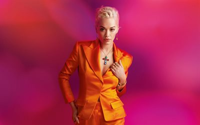 Rita Ora, portrait, british singer, orange costume, photoshoot, red background, british stars