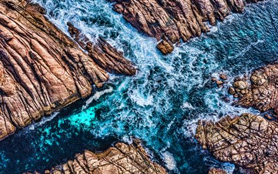 rocks, 4k, sea, aerial view, Coast, canal, sea waves, HDR, coast