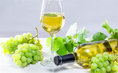 White wine, white grape, glass of wine, grape, wine concepts