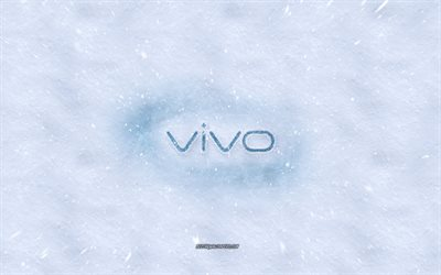 Vivo logo, winter concepts, snow texture, snow background, Vivo emblem, winter art, Vivo