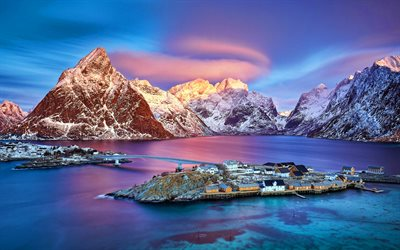Norway, winter, mountains, sea, Europe, sunset, norwegian nature