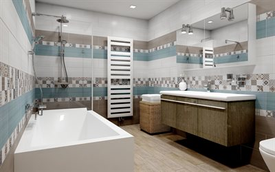 stylish bathroom interior design, brown-blue tile in the bathroom, wicker bathroom furniture, modern interior, bathroom