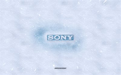 Sony logo, winter concepts, Sony ice logo, ice texture, snow texture, snow background, Sony emblem, winter art, Sony
