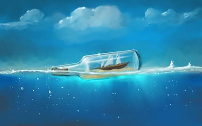 boat in bottle, 4k, sea, waves, underwater world, bottle in sea, 3D art, creative, bottle