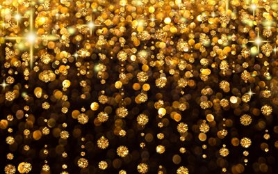 golden rain, 4k, golden glare, abstract art, bright flicker, golden glittering