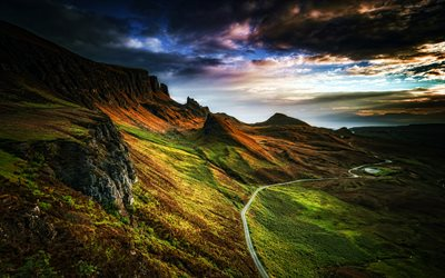 Scotland, 4k, symmer, mountains, road, beautiful nature, Europe, scottish nature