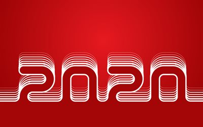 Happy New Year 2020, 4k, linear digits, abstract art, 2020 concepts, 2020 red neon digits, red backgrounds, 2020 neon art, creative, 2020 year digits