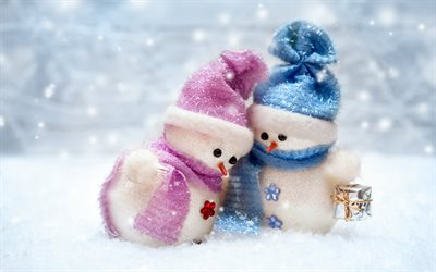 Snowmen, winter, snow, cute snowmen, couple of snowmen, Merry Christmas, Happy New Year, winter concepts, snowman, Christmas