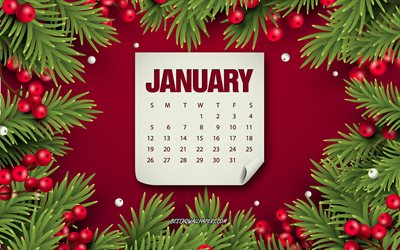 January 2020 calendar, red background with berries, Christmas tree, winter, January, 2020 calendars