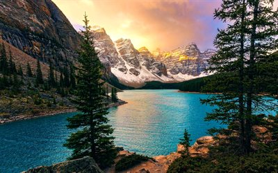 Moraine Lake, 4k, Banff, sunset, North America, mountains, forest, Banff National Park, Canada, Alberta