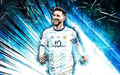 Lionel Messi, grunge art, Argentina national football team, football stars, blue abstract rays, Leo Messi, soccer, Messi, Argentine National Team