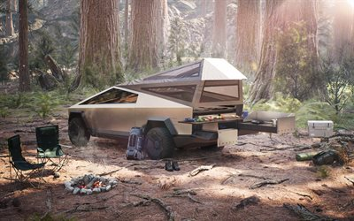 2022, Tesla Cybertruck, rear view, exterior, electric SUV, new Cybertruck, forest, camp, american electric cars, Tesla