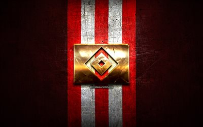 Hamburger FC, golden logo, Bundesliga 2, red metal background, football, Hamburger SV, german football club, Hamburger SV logo, soccer, Germany