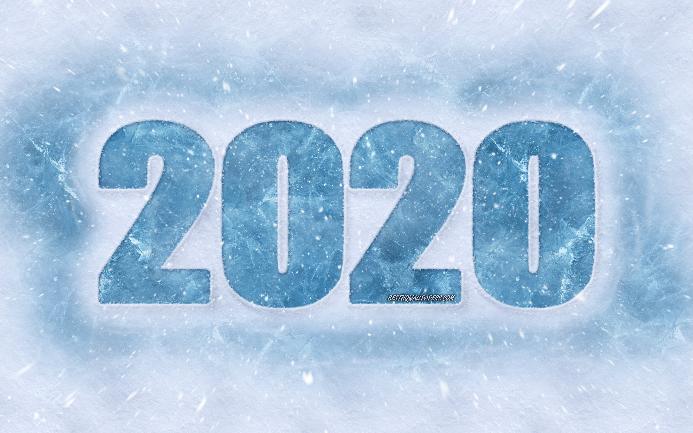 Happy New Year 2020, ice letters, snowy texture, 2020 concepts, 2020 new year, 2020 winter background, 2020, creative winter art