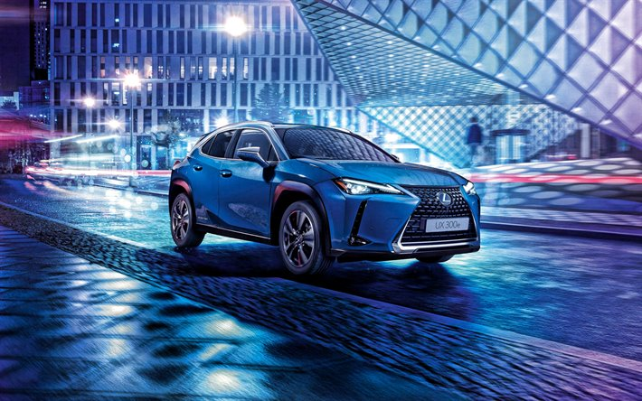 2021, Lexus UX 300e, front view, exterior, compact crossover, new blue UX, japanese cars, Lexus