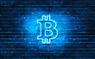 Bitcoin blue logo, 4k, blue brickwall, Bitcoin logo, cryptocurrency, Bitcoin neon logo, Bitcoin