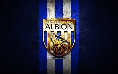 West Bromwich Albion FC, golden logo, EFL Championship, blue metal background, football, West Bromwich Albion, english football club, West Bromwich Albion logo, soccer, England
