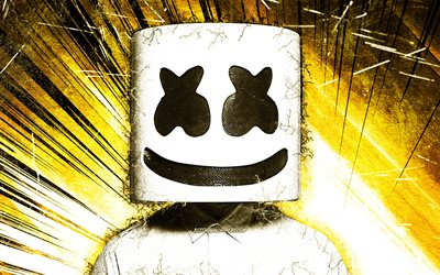 DJ Marshmello, yellow grunge rays, music stars, american DJ, Marshmello, DJs, superstars, Christopher Comstock, grunge art