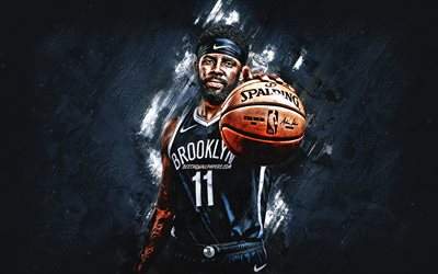 Kyrie Irving, Brooklyn Nets, NBA, american basketball player, gray stone background, National Basketball Association, USA, basketball