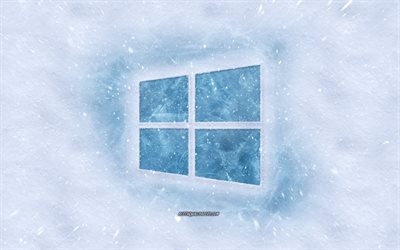 Windows 10 logo, winter concepts, snow texture, snow background, Windows 10 emblem, winter art, Windows