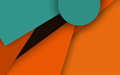 android, green and orange, material design, lollipop, geometric shapes, creative, geometry, colorful background