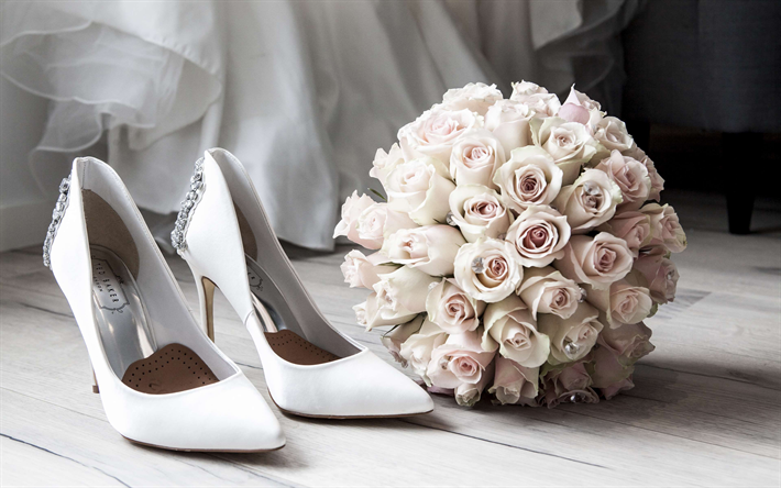 Download wallpapers bridal bouquet, white roses, white bride shoes ...