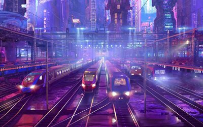 city, railway station, trains, railway, illustration