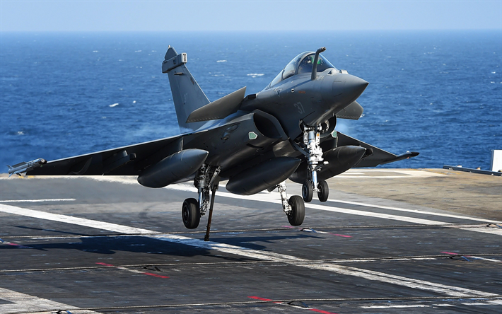 Dassault Rafale, French fighter, French Navy, military aircraft, landing, aircraft carrier deck